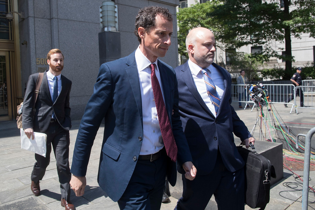 . Former U.S. Rep. Anthony Weiner leaves Federal court, Friday, May 19, 2017, in New York.  Weiner pleaded guilty to a charge of transmitting sexual material to a minor and could get years in prison(AP Photo/Mary Altaffer)