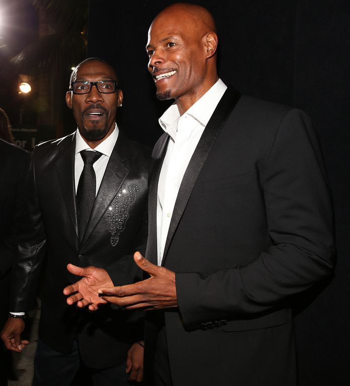 ". BEVERLY HILLS, CA - NOVEMBER 03:  (L-R) Actor Charlie Murphy and producer/director Keenen Ivory Wayans arrive at Spike TV\'s ""Eddie Murphy: One Night Only\"" at the Saban Theatre on November 3, 2012 in Beverly Hills, California.  (Photo by Christopher Polk/Getty Images)"