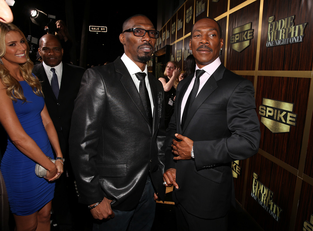 ". File - (L-R) Actor Charlie Murphy and honoree Eddie Murphy arrive at Spike TV\'s ""Eddie Murphy: One Night Only\"" at the Saban Theatre on November 3, 2012 in Beverly Hills, California. Charlie Murphy, older brother of actor-comedian Eddie Murphy, died Wednesday, April 12, 2017 of leukemia in New York. He was 57.  (Photo by Christopher Polk/Getty Images)"