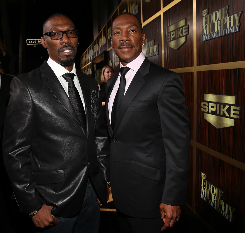 ". File - (L-R) Actor Charlie Murphy and honoree Eddie Murphy arrive at Spike TV\'s ""Eddie Murphy: One Night Only\"" at the Saban Theatre on November 3, 2012 in Beverly Hills, California.  Charlie Murphy, older brother of actor-comedian Eddie Murphy, died Wednesday, April 12, 2017 of leukemia in New York. He was 57.(Photo by Christopher Polk/Getty Images)"