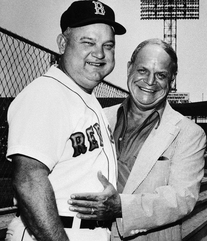 . Comedian Don Rickles doesn\'t spare Boston Red Sox Manager Don Zimmer from his sharp tongue as Rickles paid the Boston Red Sox a visit at American League game on Sunday, July 23, 1979 in Boston. (AP Photo/JB)