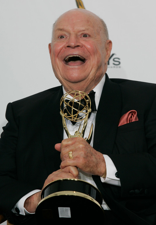 """. File - Don Rickles wins Outstanding Variety, Music Or Comedy Special at the 60th Annual Emmy Awards at the Nokia Theatre in Los Angeles CA on September 21, 2008. Rickles, the hollering, bald-headed \""""Merchant of Venom� whose barrage of barbs upon the meek and the mighty endeared him to audiences and his peers for decades died, Thursday, April 6, 2017 at his home in Los Angeles. He was 90. (Michael Owen Baker/Los Angeles Daily News)"""