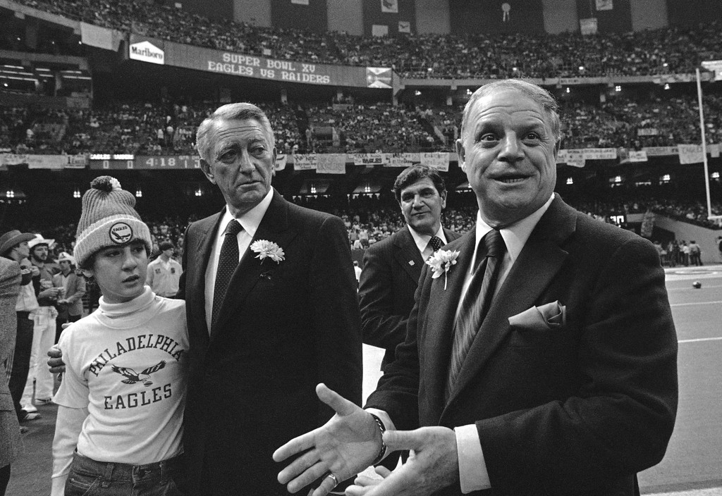 . Comedian Don Rickles on the sidelines of the New Orleans Superdome with Philadelphia Eagles owner Leonard Tose prior to Super Bowl XV on Jan. 25, 1981. (AP Photo)