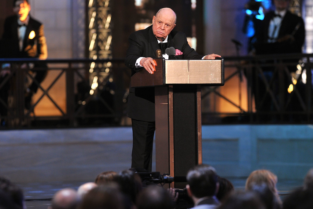 . NEW YORK, NY - APRIL 28:  Comedian Don Rickles accepts an award onstage at The Comedy Awards 2012 at Hammerstein Ballroom on April 28, 2012 in New York City.  (Photo by Theo Wargo/Getty Images)