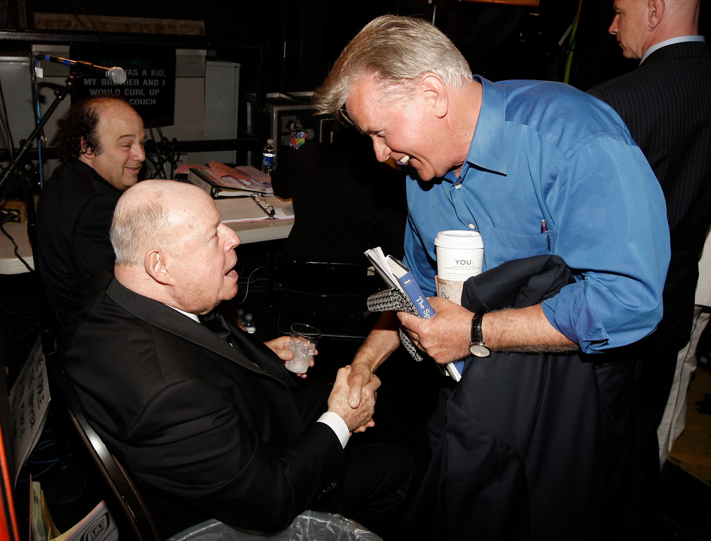 . Don Rickles, left, shakes hands with Martin Sheen at the TV Land Awards on Sunday April 19, 2009 in Universal City, Calif. (AP Photo/Matt Sayles)