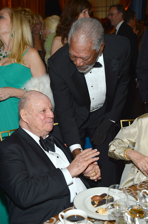 . Comedian Don Rickles and actor Morgan Freeman attends the 40th AFI Life Achievement Award honoring Shirley MacLaine held at Sony Pictures Studios on June 7, 2012 in Culver City, California.  (Photo by Frazer Harrison/Getty Images for AFI)
