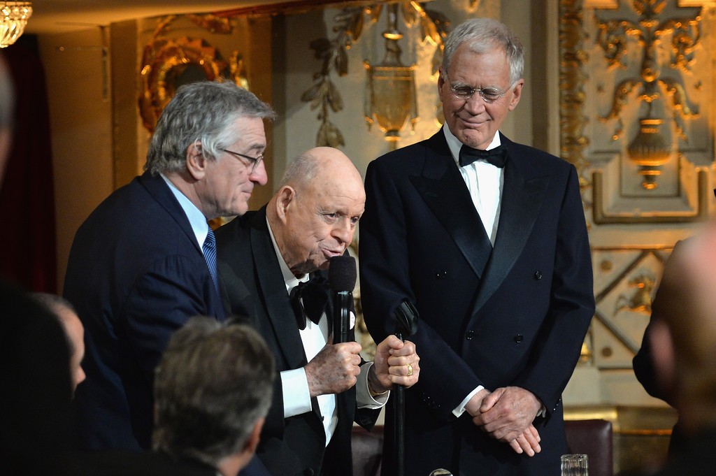 """. NEW YORK, NY - MAY 06:  Robert De Niro, Don Rickles and David Letterman speak onstage at Spike TV\'s \""""Don Rickles: One Night Only\"""" on May 6, 2014 in New York City.  (Photo by Mike Coppola/Getty Images for Spike TV)"""