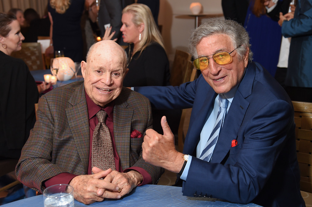 . NEW YORK, NY - SEPTEMBER 15:  Comedian Don Rickles and singer Tony Bennett attend the 10th Annual Exploring The Arts Gala at Radio City Music Hall on September 15, 2016 in New York City.  (Photo by Michael Loccisano/Getty Images for Exploring the Arts, Inc.)