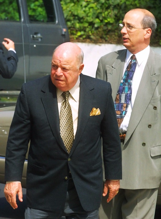 . Comedian Don Rickles, left, arrives at St. Paul the Apostle Roman Catholic Church in Los Angeles for the funeral of actor Carroll O\'Connor Tuesday, June 26, 2001.   (AP Photo/Lee Celano)
