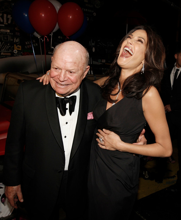 . Actress Terry Hatcher, right, is seen with Don Rickles backstage at the TV Land Awards on Sunday April 19, 2009 in Universal City, Calif. (AP Photo/Matt Sayles)