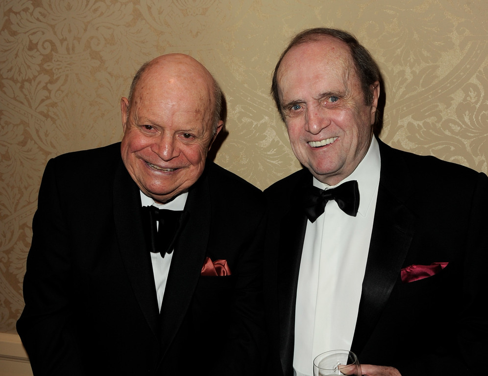. BEVERLY HILLS, CA - OCTOBER 23:  Comedians Don Rickles (L) and Bob Newhart pose at the 32nd Anniversary Carousel of Hope Gala at the Beverly Hilton Hotel on October 23, 2010 in Beverly Hills, California.  (Photo by Kevin Winter/Getty Images)