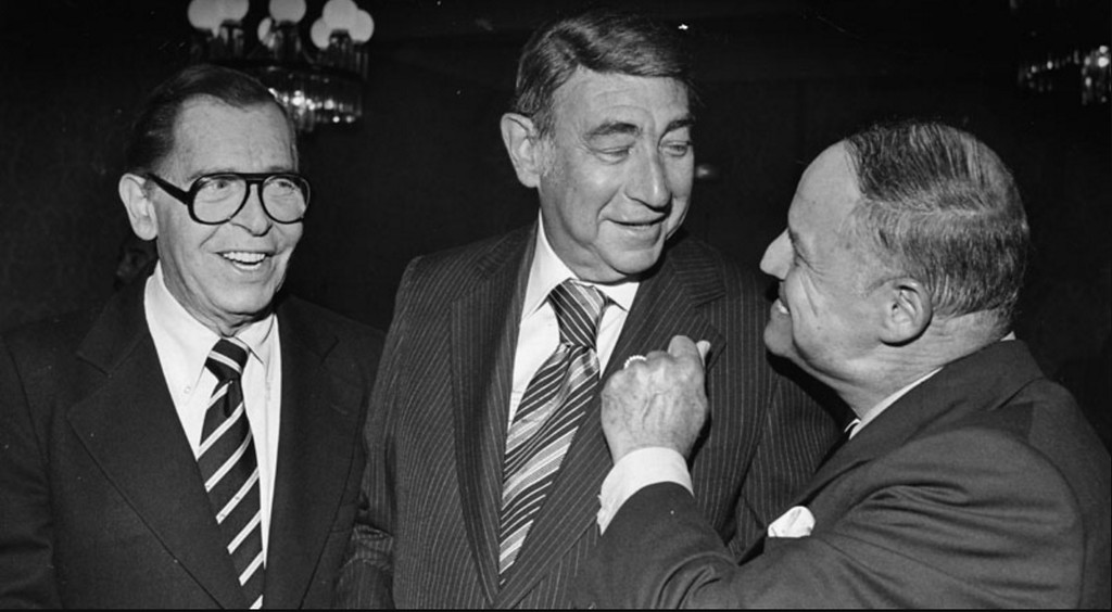 . There was a bit of carrying on at the Friars roast of Howard Cosell last night at the Friars Club. Standing from left to right: Milton Berle, Howard Cosell and Don Rickles. Photo dated: August 31, 1978. (Photo by Dean Musgrove)