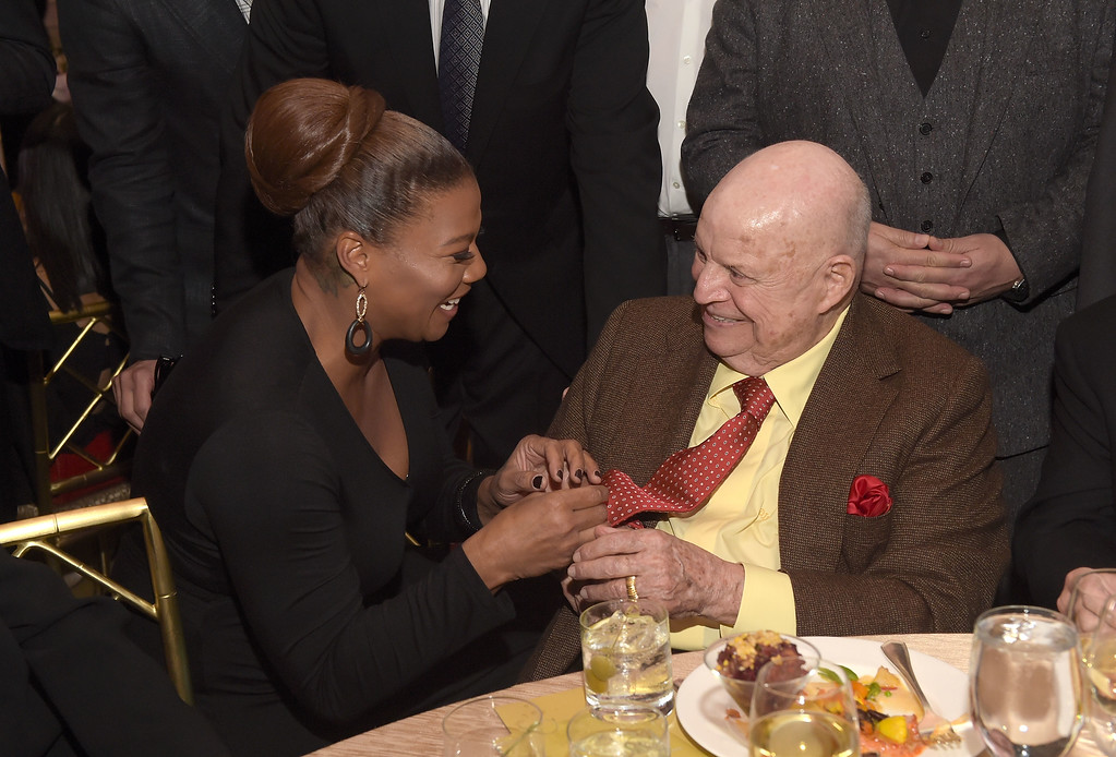 """. BEVERLY HILLS, CA - JUNE 05:  Queen Latifah and comedian Don Rickles attend the \""""Cool Comedy - Hot Cuisine\"""" To Benefit The Scleroderma Research Foundation benefit at the Beverly Wilshire Four Seasons Hotel on June 5, 2015 in Beverly Hills, California.  (Photo by Jason Kempin/Getty Images)"""
