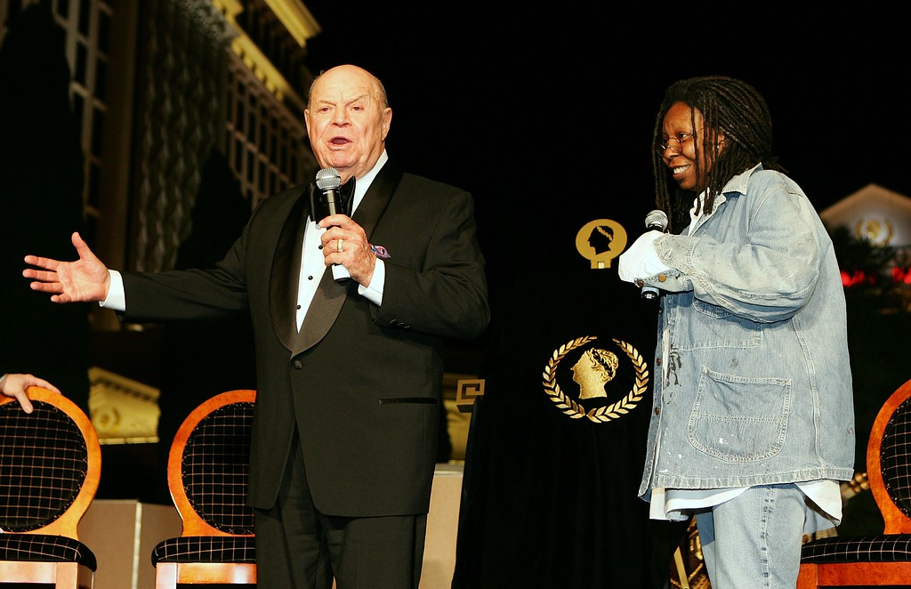 . LAS VEGAS - NOVEMBER 15:  Comedian Don Rickles (L) and actress/comedian Whoopi Goldberg appear during Rickles\' Caesars Palace Laurel Award presentation ceremony during The Comedy Festival at Caesars November 15, 2006 in Las Vegas, Nevada. Rickles\' plaque will be the first one permanently displayed in the celebrity walk in the Roman Plaza in front of the resort.  (Photo by Ethan Miller/Getty Images for Caesars Palace)