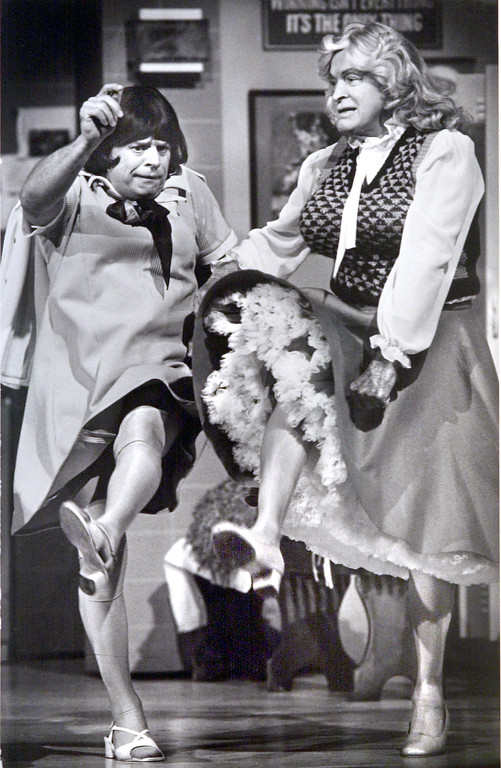 . Don Rickles and Bob Hope dressed as Super Bowl Tootsie in NBC program  promoting 1984 Super Bowl Game in Pasadena. (PHOTO BY WALT MANCINI/STAR-NEWS)