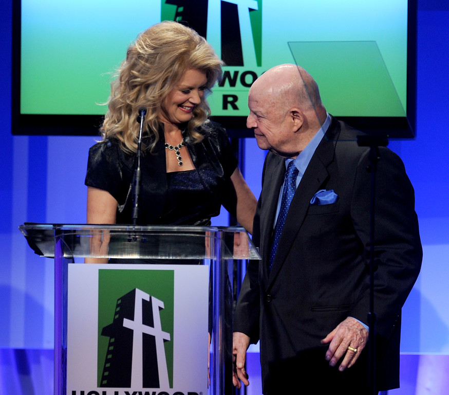 . BEVERLY HILLS, CA - OCTOBER 25:  Host Mary Hart (L) and comedian Don Rickles speak onstage during the 14th annual Hollywood Awards Gala at The Beverly Hilton Hotel on October 25, 2010 in Beverly Hills, California.  (Photo by Alberto E. Rodriguez/Getty Images for Hollywood Awards)