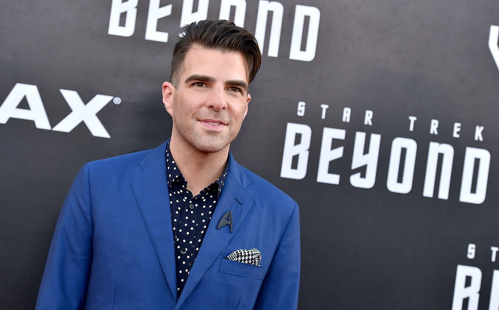 """. Zachary Quinto arrives at the world premiere of \""""Star Trek Beyond\"""" at the Embarcadero Marina Park South on Wednesday, July 20, 2016, in San Diego. (Photo by Jordan Strauss/Invision/AP)"""