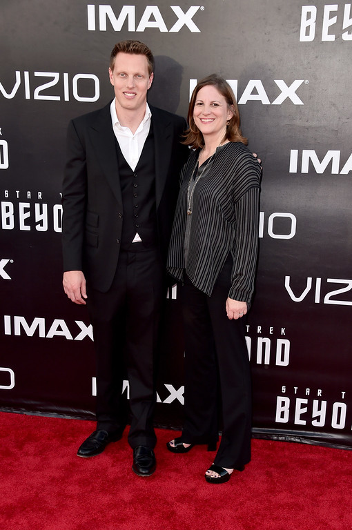 """. SAN DIEGO, CA - JULY 20:  Producers David Ellison and Lindsey Weber attend the premiere of Paramount Pictures\' \""""Star Trek Beyond\"""" at Embarcadero Marina Park South on July 20, 2016 in San Diego, California.  (Photo by Alberto E. Rodriguez/Getty Images)"""