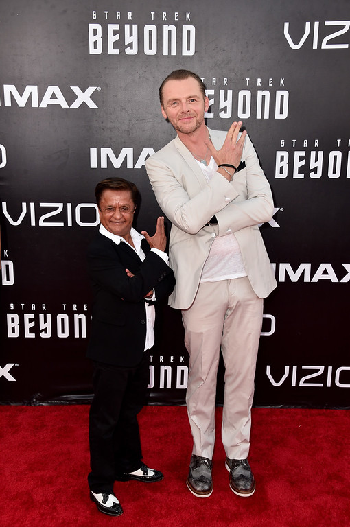 ". SAN DIEGO, CA - JULY 20:  Actor Deep Roy (L) and actor/writer Simon Pegg attend the premiere of Paramount Pictures\' ""Star Trek Beyond\"" at Embarcadero Marina Park South on July 20, 2016 in San Diego, California.  (Photo by Alberto E. Rodriguez/Getty Images)"