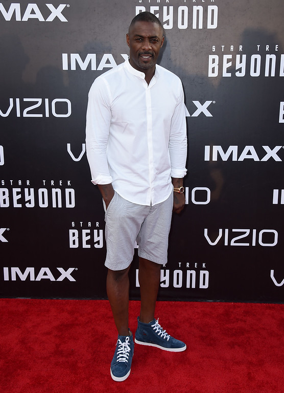 """. Idris Elba arrives at the world premiere of \""""Star Trek Beyond\"""" at the Embarcadero Marina Park South on Wednesday, July 20, 2016, in San Diego. (Photo by Jordan Strauss/Invision/AP)"""