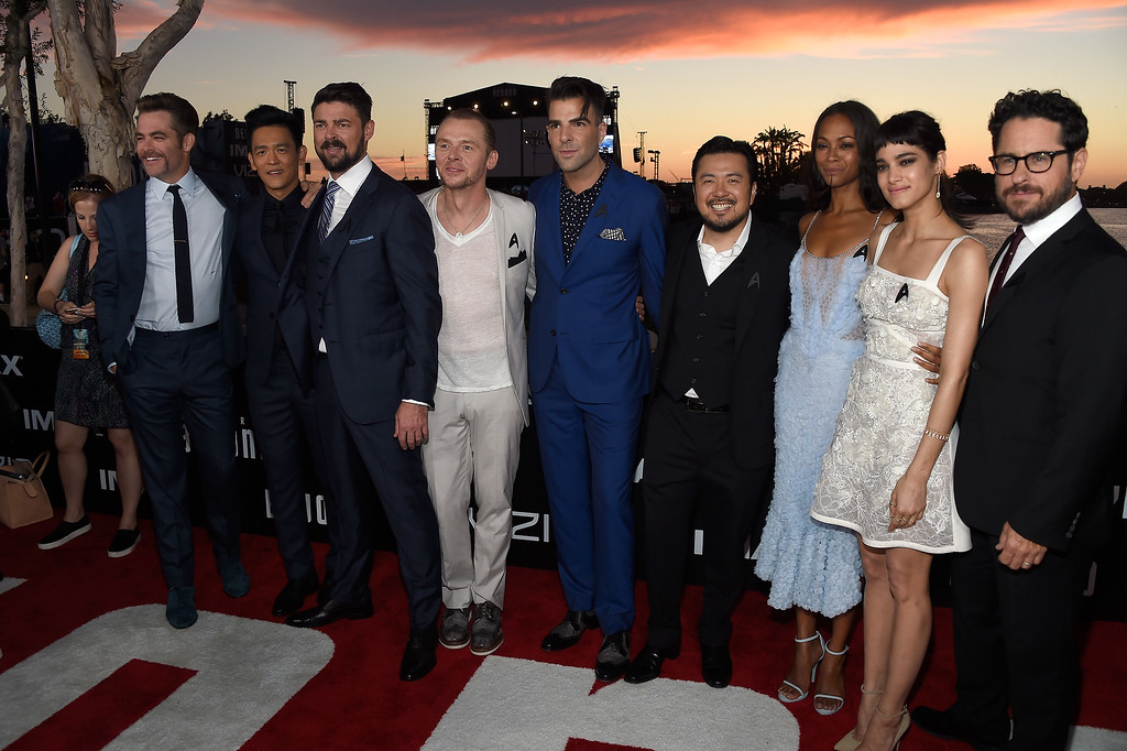 . SAN DIEGO, CA - JULY 20:  (L-R) Actors Chris Pine, John Cho, Karl Urban, Simon Pegg, and Zachary Quinto, director Justin Lin, actors Zoe Saldana and Sofia Boutella, and producer J.J. Abrams attend the world premiere of the Paramount Pictures title ìStar Trek Beyondî at Embarcadero Marina Park South on July 20, 2016 in San Diego, California.  (Photo by Frazer Harrison/Getty Images)