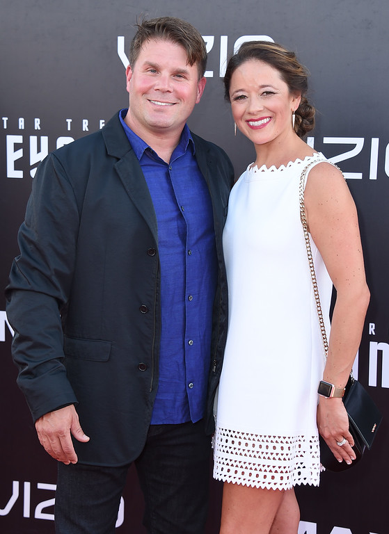 """. Rod Roddenberry, left, and Heidi Roddenberry arrive at the world premiere of \""""Star Trek Beyond\"""" at the Embarcadero Marina Park South on Wednesday, July 20, 2016, in San Diego. (Photo by Jordan Strauss/Invision/AP)"""