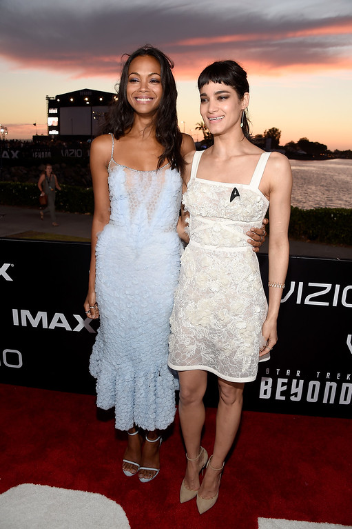 . SAN DIEGO, CA - JULY 20:  Actresses Zoe Saldana (L) and Sofia Boutella attend the world premiere of the Paramount Pictures title �Star Trek Beyond� at Embarcadero Marina Park South on July 20, 2016 in San Diego, California.  (Photo by Frazer Harrison/Getty Images)