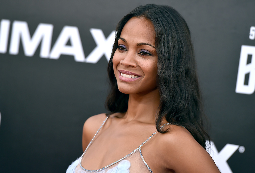 """. Zoe Saldana arrives at the world premiere of \""""Star Trek Beyond\"""" at the Embarcadero Marina Park South on Wednesday, July 20, 2016, in San Diego. (Photo by Jordan Strauss/Invision/AP)"""