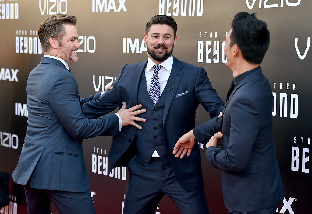 """. Chris Pine, from left, Karl Urban and John Cho arrive at the world premiere of \""""Star Trek Beyond\"""" at the Embarcadero Marina Park South on Wednesday, July 20, 2016, in San Diego. (Photo by Jordan Strauss/Invision/AP)"""