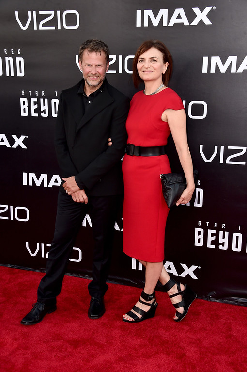 """. SAN DIEGO, CA - JULY 20:  Makeup artist Joel Harlow and cosutme designer Sanja Hays attend the premiere of Paramount Pictures\' \""""Star Trek Beyond\"""" at Embarcadero Marina Park South on July 20, 2016 in San Diego, California.  (Photo by Alberto E. Rodriguez/Getty Images)"""