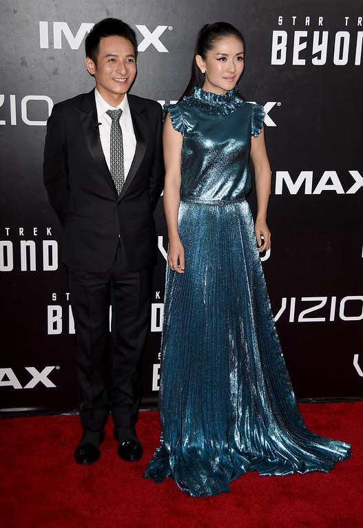 """. SAN DIEGO, CA - JULY 20:  TV personalities Li Weijia (L) and Xie Na attend the premiere of Paramount Pictures\' \""""Star Trek Beyond\"""" at Embarcadero Marina Park South on July 20, 2016 in San Diego, California.  (Photo by Kevin Winter/Getty Images)"""