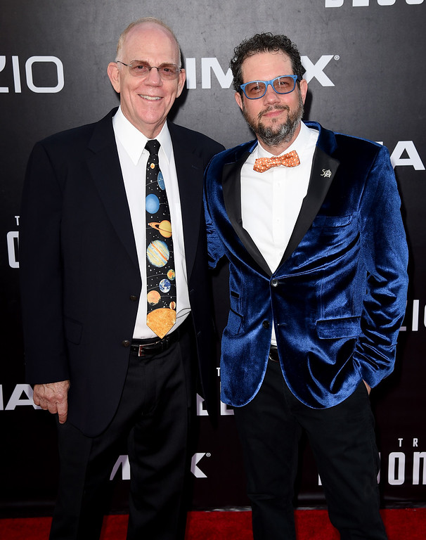 """. SAN DIEGO, CA - JULY 20:  Conductor Richard Kaufman (L) and composer Michael Giacchino attend the premiere of Paramount Pictures\' \""""Star Trek Beyond\"""" at Embarcadero Marina Park South on July 20, 2016 in San Diego, California.  (Photo by Kevin Winter/Getty Images)"""