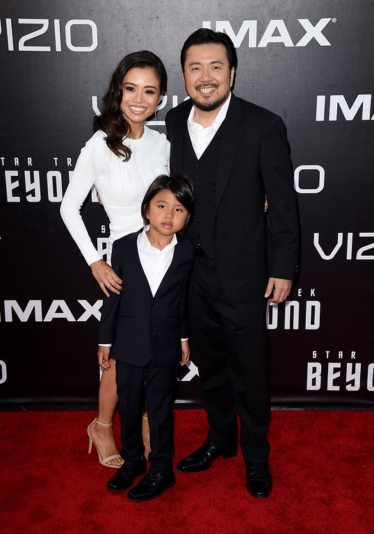 """. SAN DIEGO, CA - JULY 20:  Director Justin Lin (R) and family attend the premiere of Paramount Pictures\' \""""Star Trek Beyond\"""" at Embarcadero Marina Park South on July 20, 2016 in San Diego, California.  (Photo by Kevin Winter/Getty Images)"""