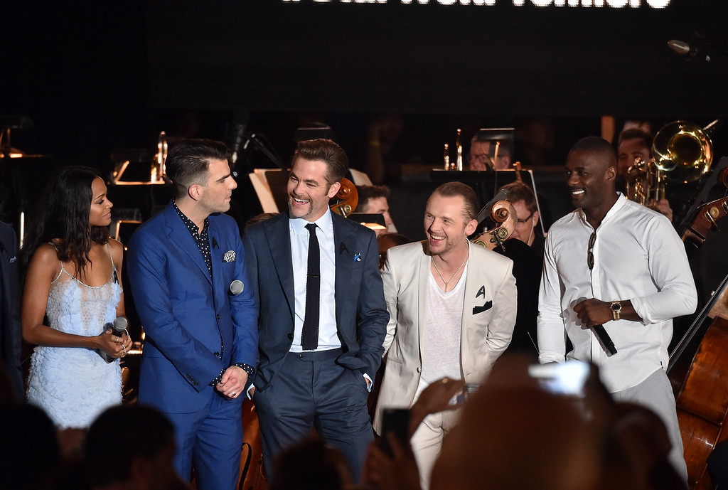 . SAN DIEGO, CA - JULY 20:  (L-R) Actors Zoe Saldana, Zachary Quinto, Chris Pine, Simon Pegg, and Idris Elba speak onstage at the world premiere of the Paramount Pictures title ìStar Trek Beyondî at Embarcadero Marina Park South on July 20, 2016 in San Diego, California.  (Photo by Mike Windle/Getty Images)