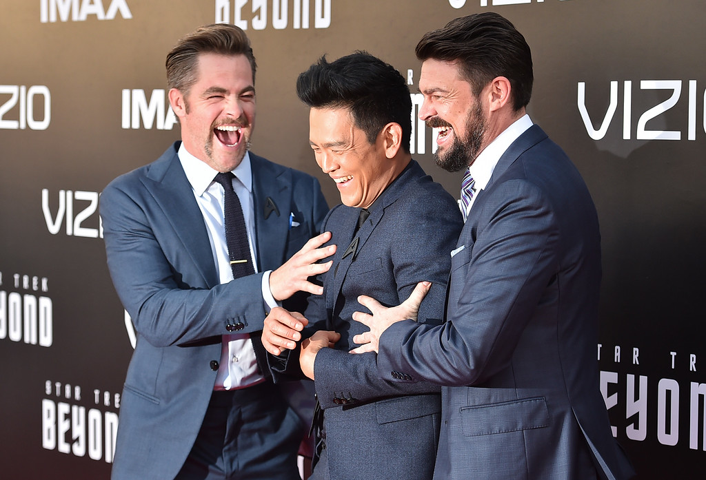 """. Chris Pine, from left, John Cho and Karl Urban arrive at the world premiere of \""""Star Trek Beyond\"""" at the Embarcadero Marina Park South on Wednesday, July 20, 2016, in San Diego. (Photo by Jordan Strauss/Invision/AP)"""