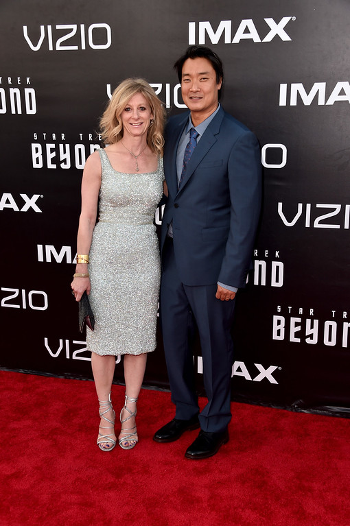 """. SAN DIEGO, CA - JULY 20:  Screenwriter Doug Jung (R) attends the premiere of Paramount Pictures\' \""""Star Trek Beyond\"""" at Embarcadero Marina Park South on July 20, 2016 in San Diego, California.  (Photo by Alberto E. Rodriguez/Getty Images)"""