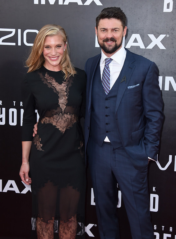 ". Katee Sackhoff, left, and Karl Urban arrive at the world premiere of ""Star Trek Beyond\"" at the Embarcadero Marina Park South on Wednesday, July 20, 2016, in San Diego. (Photo by Jordan Strauss/Invision/AP)"