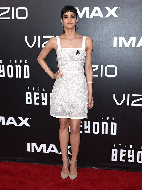 """. Sofia Boutella arrives at the world premiere of \""""Star Trek Beyond\"""" at the Embarcadero Marina Park South on Wednesday, July 20, 2016, in San Diego. (Photo by Jordan Strauss/Invision/AP)"""