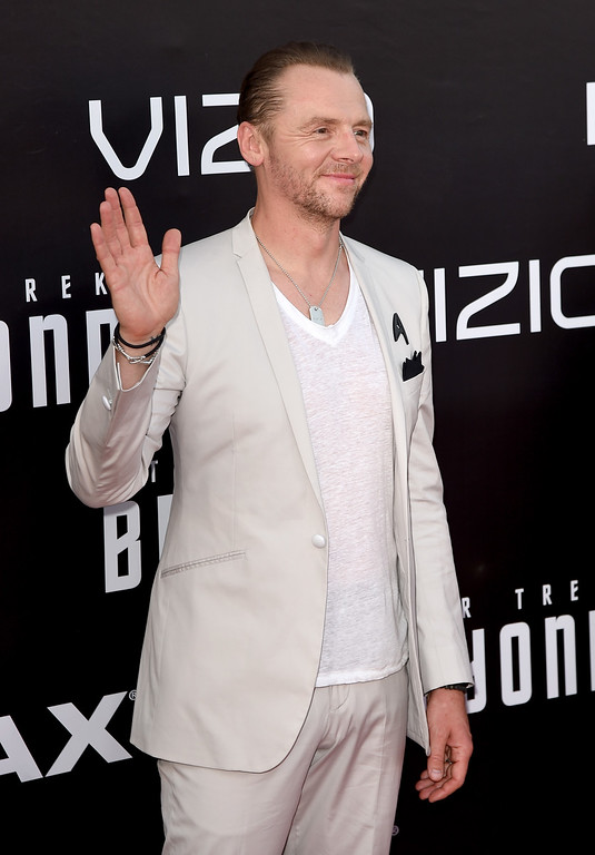 """. SAN DIEGO, CA - JULY 20:  Actor/writer Simon Pegg attends the premiere of Paramount Pictures\' \""""Star Trek Beyond\"""" at Embarcadero Marina Park South on July 20, 2016 in San Diego, California.  (Photo by Kevin Winter/Getty Images)"""