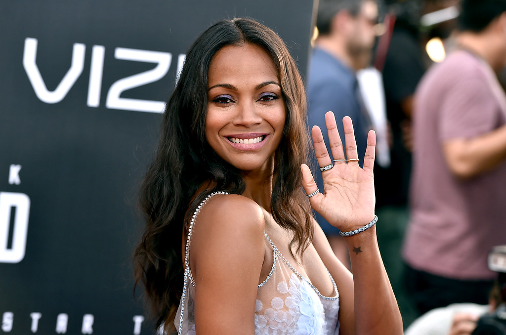 ". Zoe Saldana arrives at the world premiere of ""Star Trek Beyond\"" at the Embarcadero Marina Park South on Wednesday, July 20, 2016, in San Diego. (Photo by Jordan Strauss/Invision/AP)"