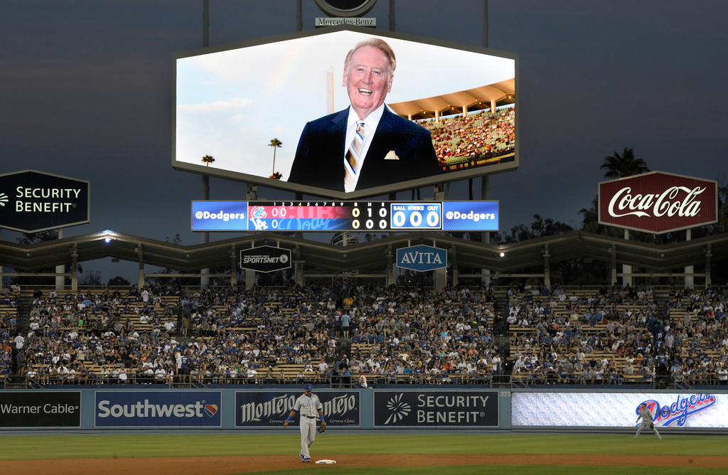 . ...  The L.A. icon finally relented to having a street named after him in January. Three months later Dodger Stadium resided on Vin Scully Ave.  (Photo by John McCoy/Los Angeles Daily News)