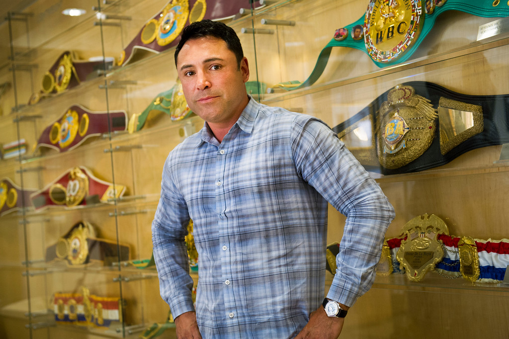 . <b>33. Oscar De La Hoya, 43, Golden Boy Promotions Owner</b> <br>As celebrated as his boxing career was, De La Hoya may have a larger presence now that he is at the top of the promotional world. The �Golden Boy� from East L.A. won titles in six divisions in addition to a gold medal in the 1992 Olympics shortly after he graduated from Garfield High School ... (Photo by Michael Owen Baker/L.A. Daily News)