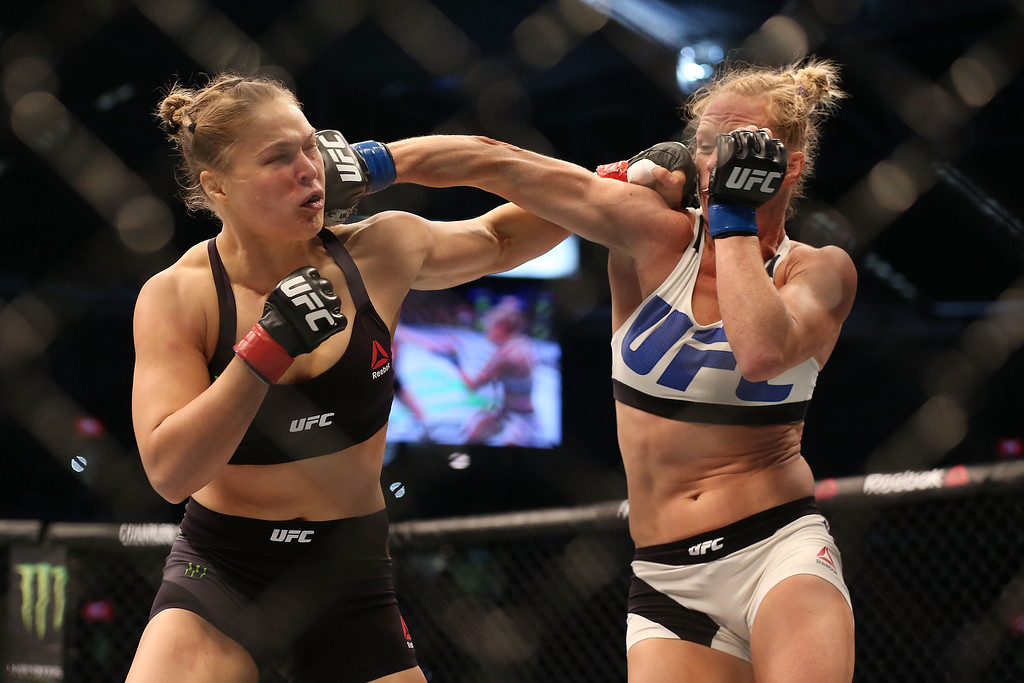 . <b>36. Ronda Rousey, 29, Mixed Martial Arts Fighter</b> <br>After a meteoric rise to stardom in the octagon and on the big screen, Rousey disappeared from the public eye after Holly Holm knocked her out with a spectacular kick to the head Nov. 14, 2015 ... (Photo by Quinn Rooney/Getty Images)