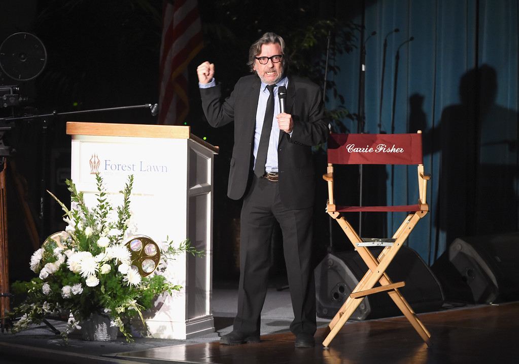 . LOS ANGELES, CA - MARCH 25:  Griffin Dunne speaks onstage at Debbie Reynolds and Carrie Fisher Memorial at Forest Lawn Cemetery on March 25, 2017 in Los Angeles, California.  (Photo by Kevin Winter/Getty Images)
