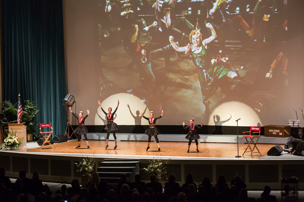 . Students from the Debbie Reynolds Dance Studio perform at the Carrie Fisher and Debbie Reynolds Memorial Service at The Forest Lawn on Saturday, March 25, 2017, in Los Angeles. Laughter, music and the tapping of dancing shoes reverberated throughout a public memorial to Reynolds and Fisher, which loved ones say is just how the actresses would have wanted it. (Photo by Willy Sanjuan/Invision/AP)