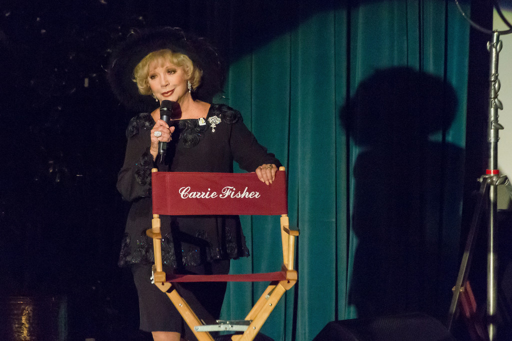. Ruta Lee speaks at the Carrie Fisher and Debbie Reynolds Memorial Service at The Forest Lawn on Saturday, March 25, 2017, in Los Angeles. (Photo by Willy Sanjuan/Invision/AP)