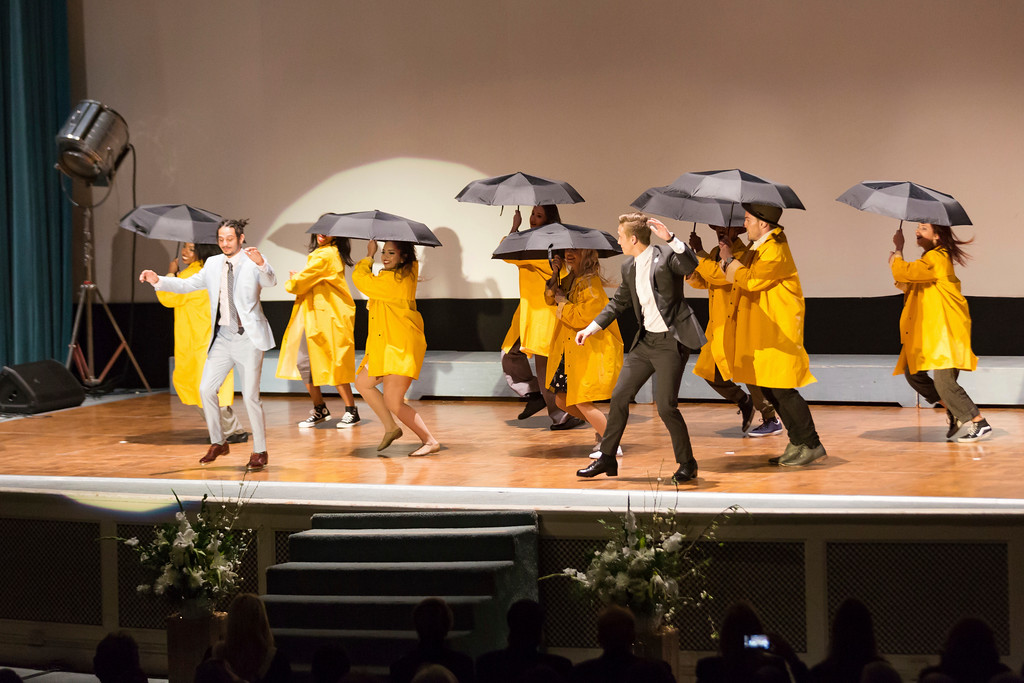 ". Anthony ""Kanec\"" Carr, front left, and a troupe from Debbie Reynolds\' dance studio perform an homage to \""Singin\' in the Rain,\"" at the Carrie Fisher and Debbie Reynolds Memorial Service at The Forest Lawn on Saturday, March 25, 2017, in Los Angeles. (Photo by Willy Sanjuan/Invision/AP)"