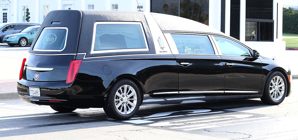 . LOS ANGELES, CA - JANUARY 06: A funeral procession transports Debbie Reynolds and Carrie Fisher to their joint Memorial and Funeral at Forest Lawn Cemetery on January 6, 2017 in Los Angeles, California.  (Photo by Frederick M. Brown/Getty Images)