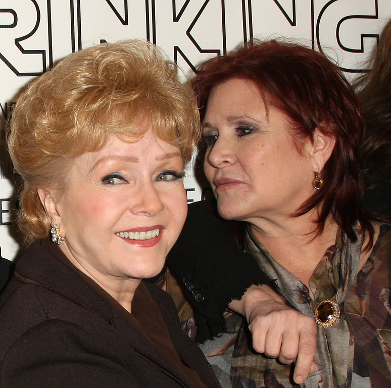 ". HOLLYWOOD, CA - DECEMBER 07: Actresses Debbie Reynolds (L) and Carrie Fisher attend the premiere of the HBO Documentary ""Wishful Drinking\"" at the Linwood Dunn Theater on December 7, 2010 in Hollywood, California.  (Photo by Frederick M. Brown/Getty Images) *** Local Caption *** Debbie Reynolds;Carrie Fisher"