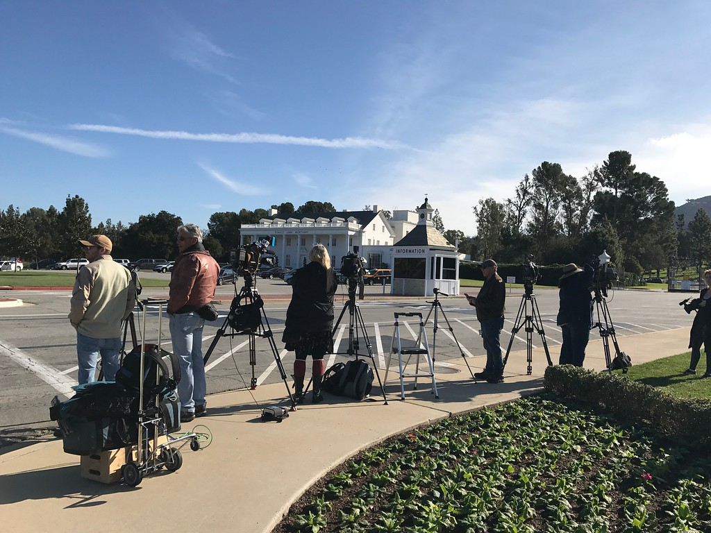 . News crews at Forest Lawn Cemetery for Debbie Reynolds and Carrie Fisher Memorial and Funeral on January 6, 2017 in Los Angeles, California.  (Photo by Matthew Carey, Special to the Los Angeles Daily News/SCNG)